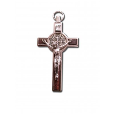 Silvery medal-crucifix of saint-Benedict